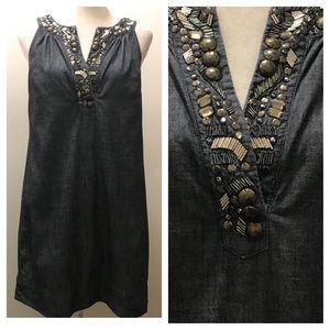 NY&Co. Denim sheath dress w/jewels. Size Small
